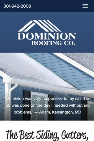 Dominion Roofing Co mobile site home page