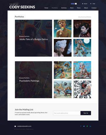 codyseekins.com portfolios page design