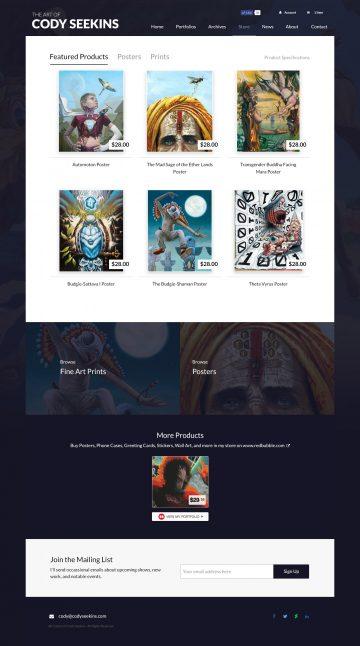 codyseekins.com store page design