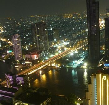 Bangkok skyline over the Chao Phraya River