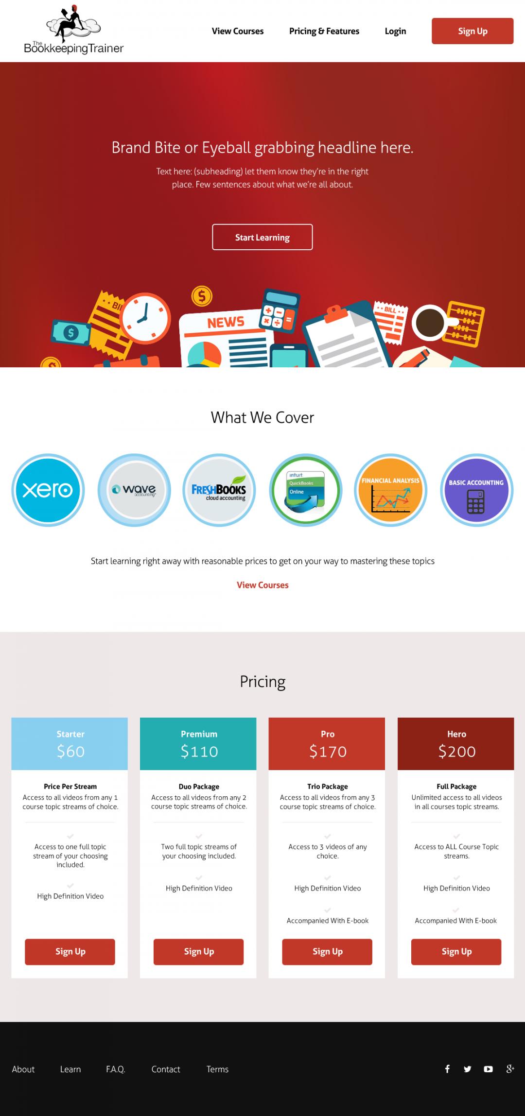 thecoachingredhead.com home page design