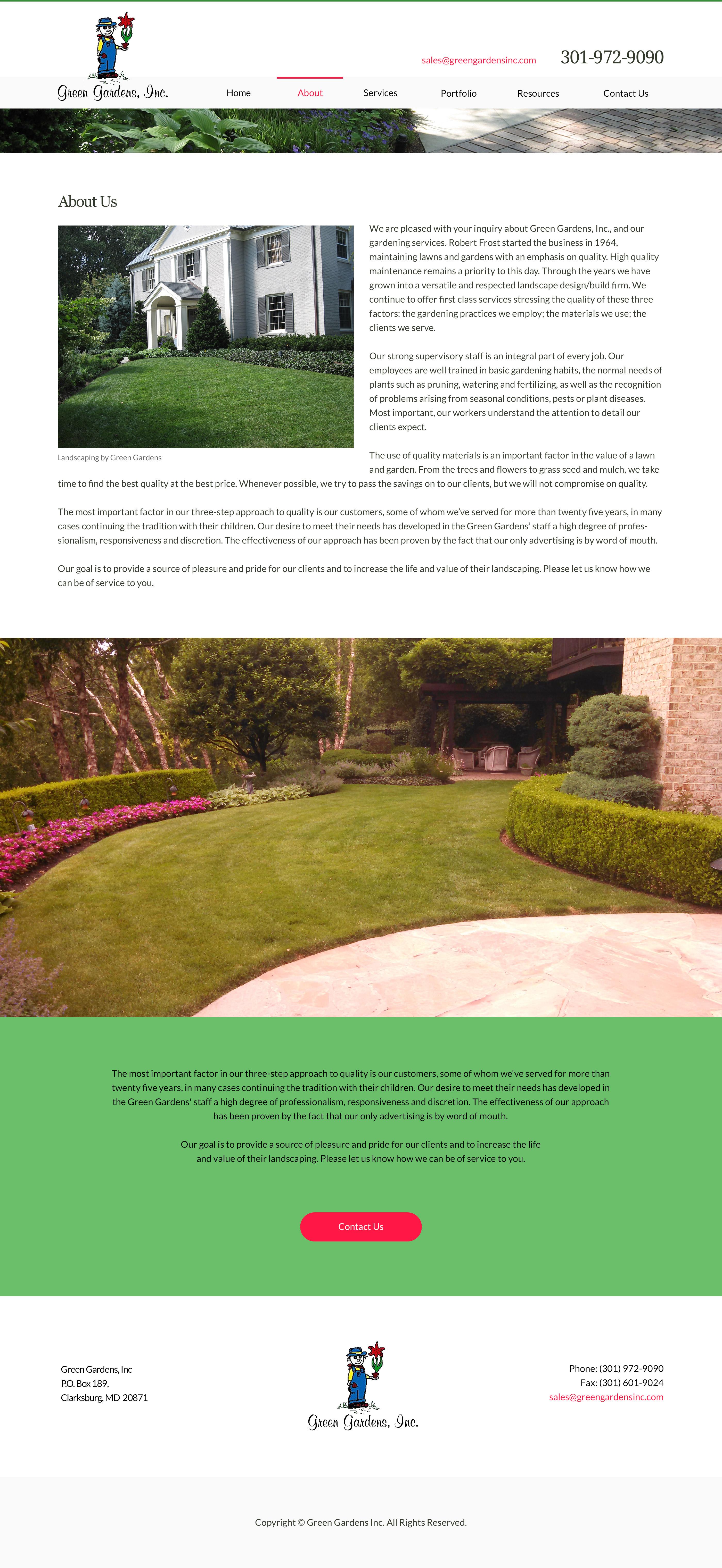 Greengardensinc.com About Page Design