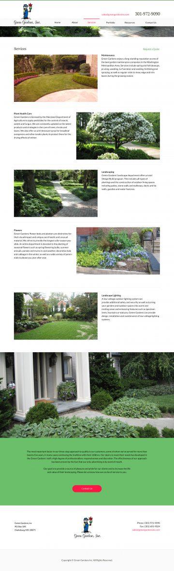 greengardensinc.com services page design
