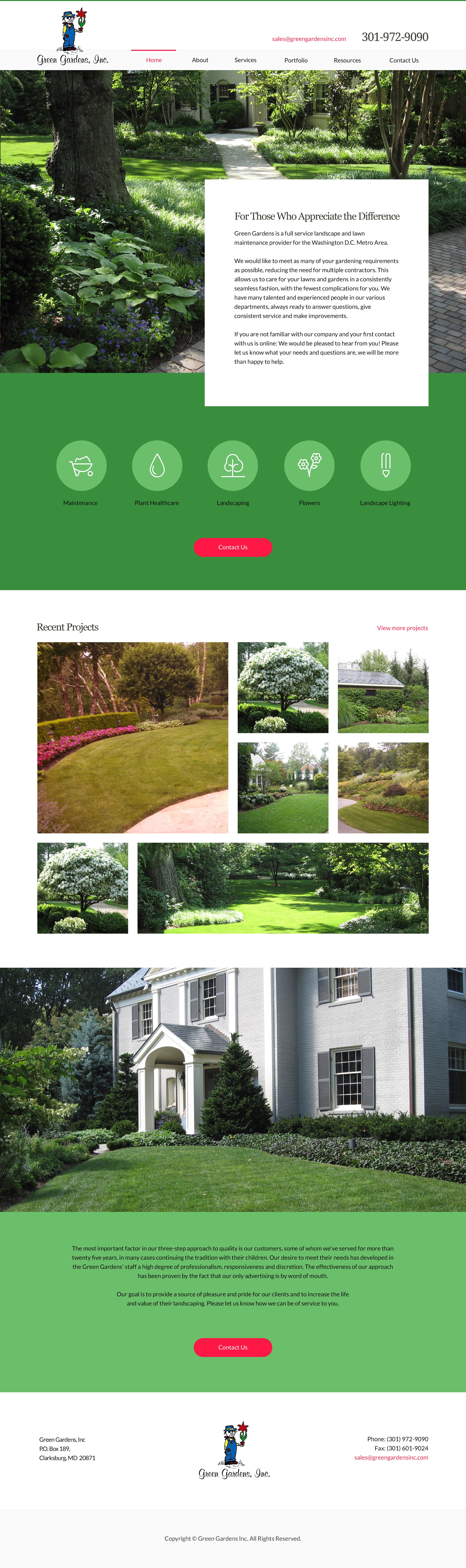 greengardensinc.com home page design