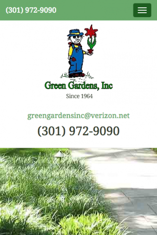 Home page design for the Green Gardens mobile website