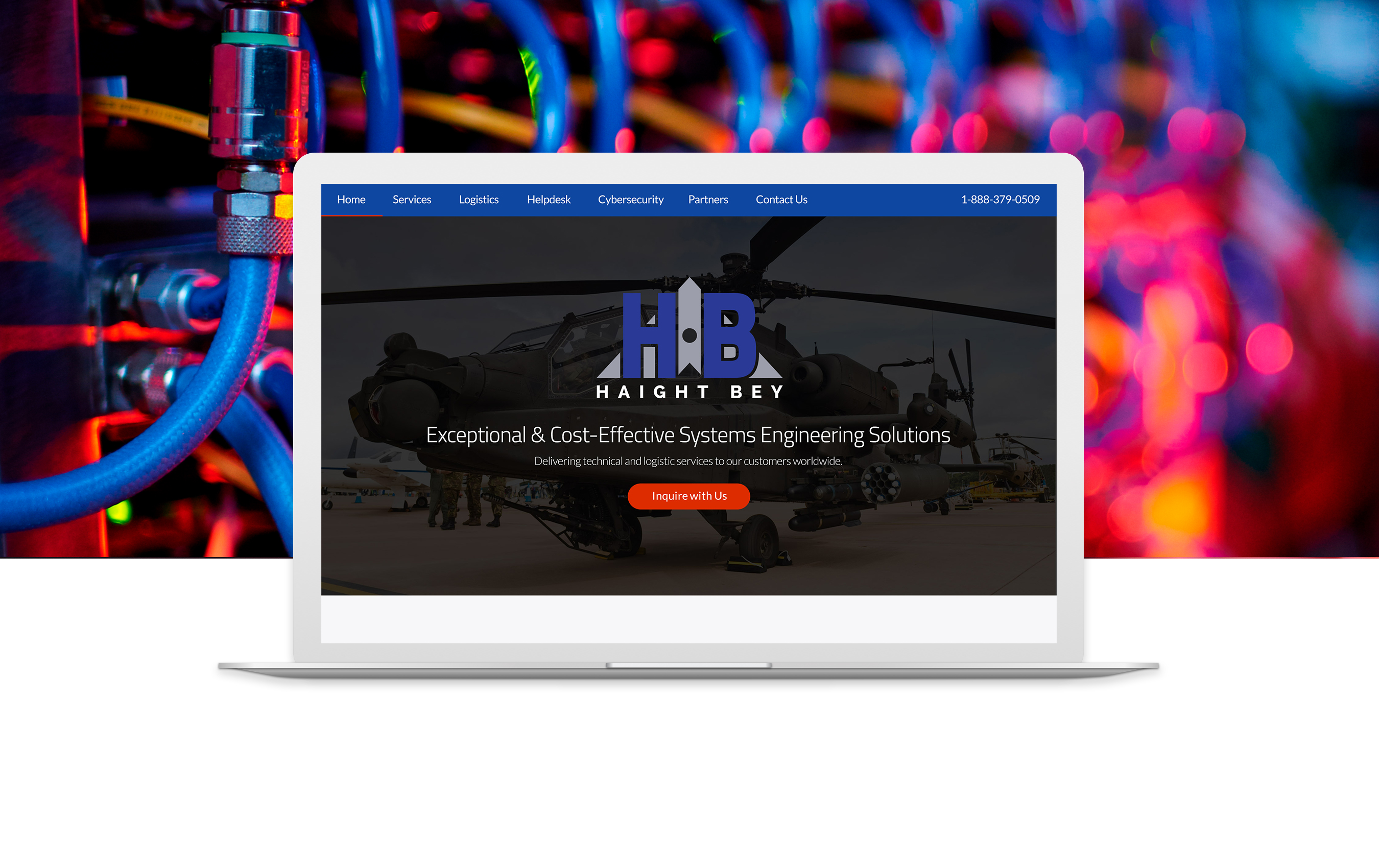 haightbey.com home page shown in laptop