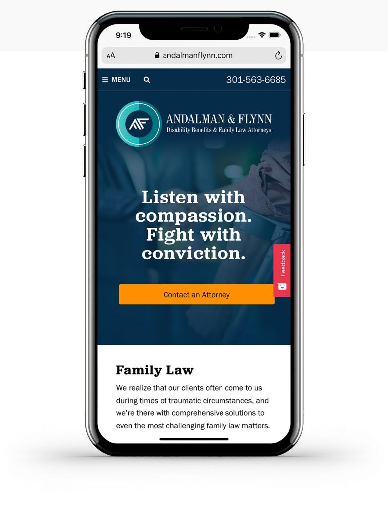 andalmanflynn.com mobile home page screenshot